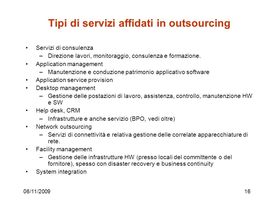 06/11/200916 Tipi di servizi affidati in outsourcing Servizi di consulenza –Direzione lavori, monitoraggio, consulenza e formazione.