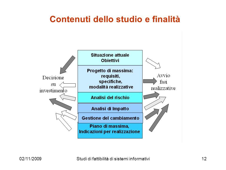 02/11/200912 Contenuti dello studio e finalità Studi di fattibilità di sistemi informativi