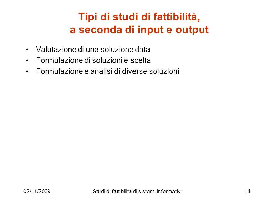 02/11/200914 Tipi di studi di fattibilità, a seconda di input e output Valutazione di una soluzione data Formulazione di soluzioni e scelta Formulazio
