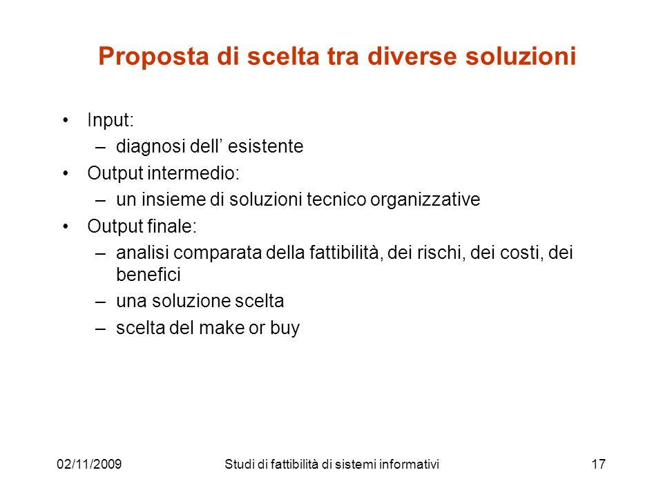 02/11/200917 Proposta di scelta tra diverse soluzioni Input: –diagnosi dell esistente Output intermedio: –un insieme di soluzioni tecnico organizzativ