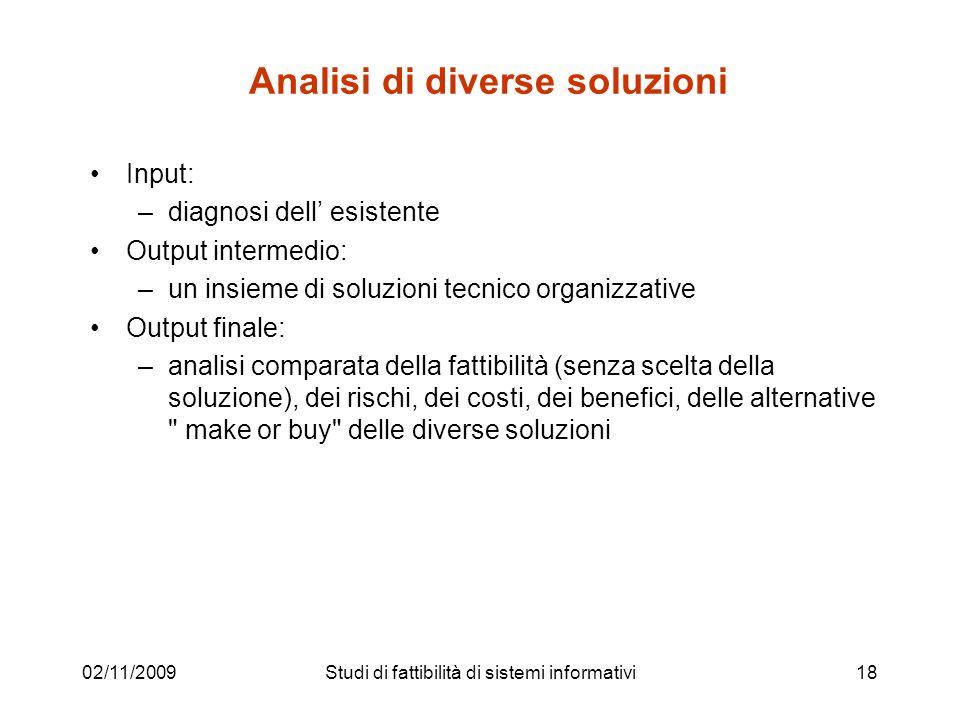 02/11/200918 Analisi di diverse soluzioni Input: –diagnosi dell esistente Output intermedio: –un insieme di soluzioni tecnico organizzative Output fin