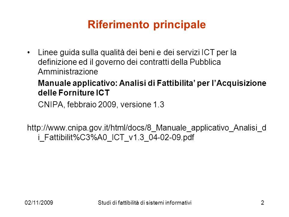 02/11/200963 Classificazione dei costi Studi di fattibilità di sistemi informativi