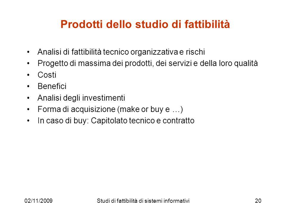 02/11/200920 Prodotti dello studio di fattibilità Analisi di fattibilità tecnico organizzativa e rischi Progetto di massima dei prodotti, dei servizi