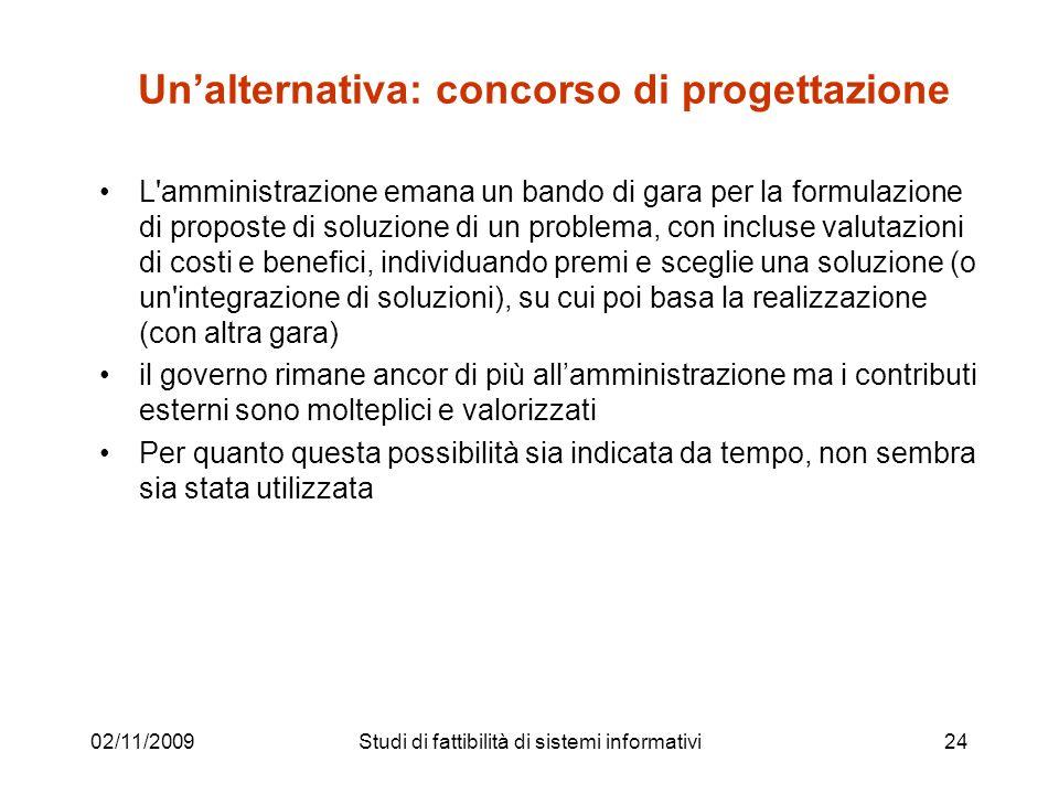 02/11/200924 Unalternativa: concorso di progettazione L'amministrazione emana un bando di gara per la formulazione di proposte di soluzione di un prob