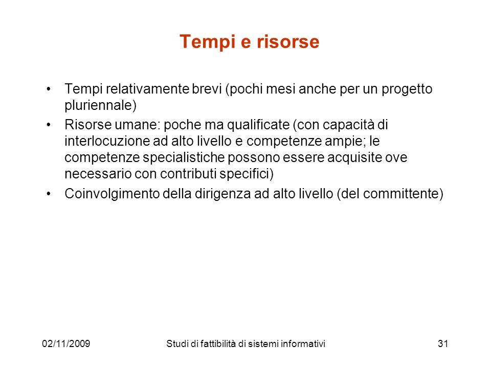 02/11/200931 Tempi e risorse Tempi relativamente brevi (pochi mesi anche per un progetto pluriennale) Risorse umane: poche ma qualificate (con capacit