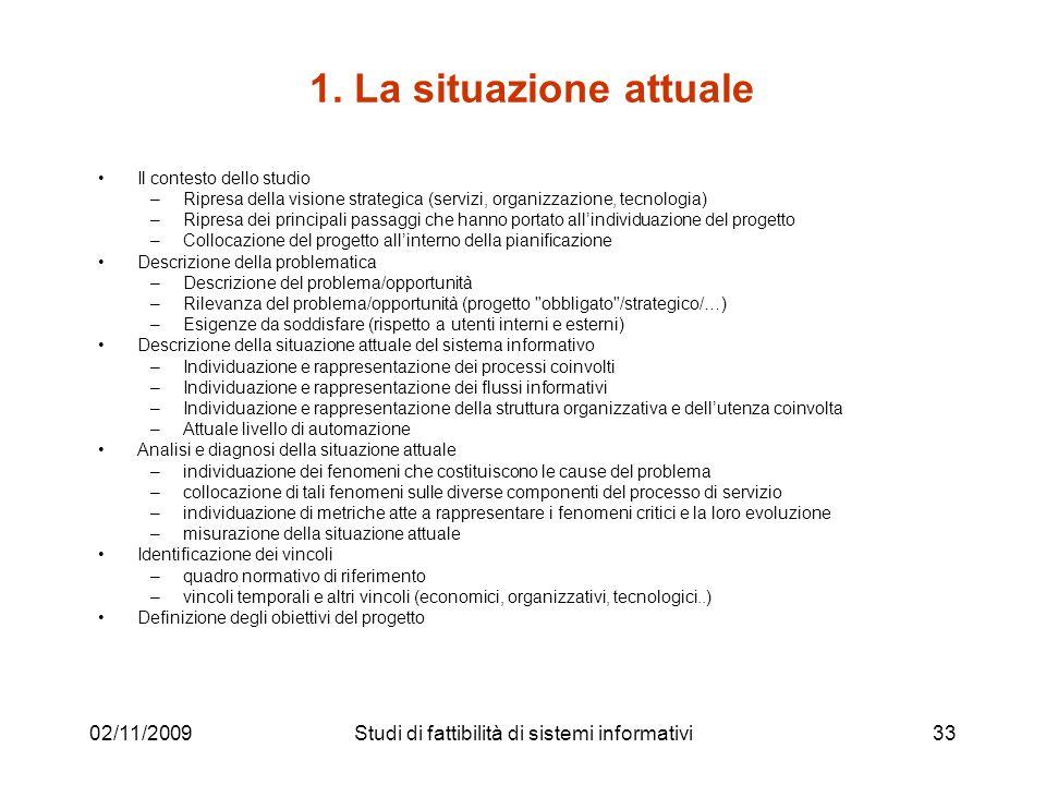 02/11/200933 1. La situazione attuale Il contesto dello studio –Ripresa della visione strategica (servizi, organizzazione, tecnologia) –Ripresa dei pr