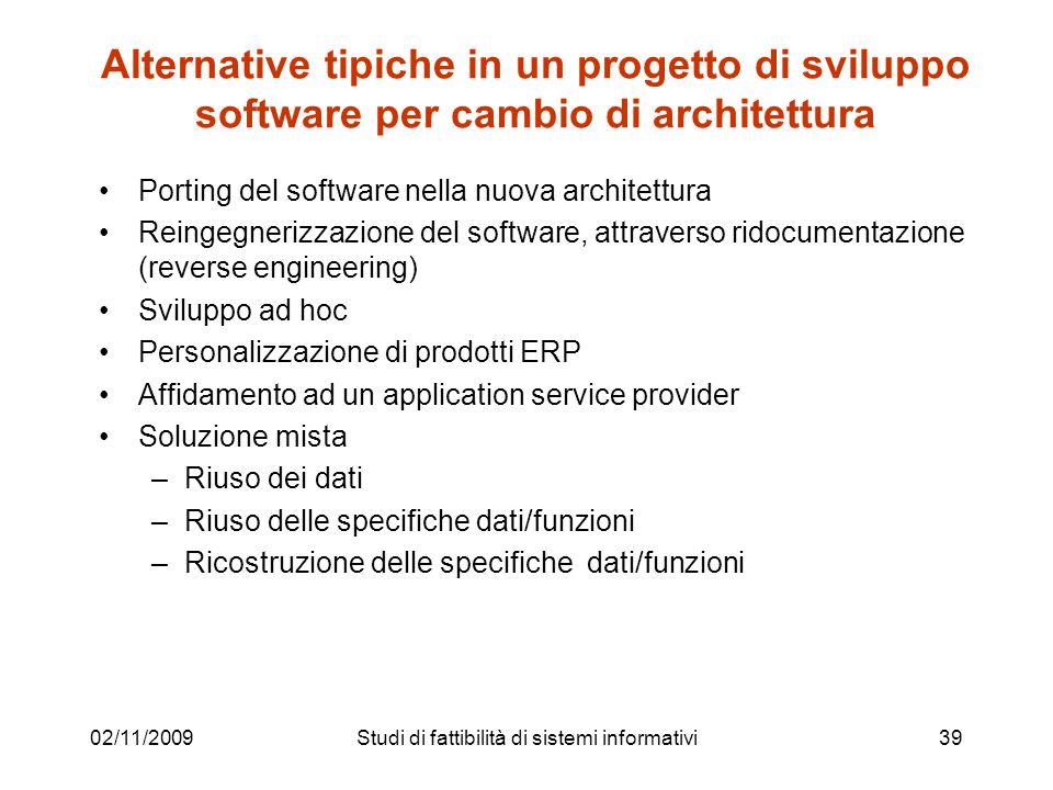 02/11/200939 Alternative tipiche in un progetto di sviluppo software per cambio di architettura Porting del software nella nuova architettura Reingegn