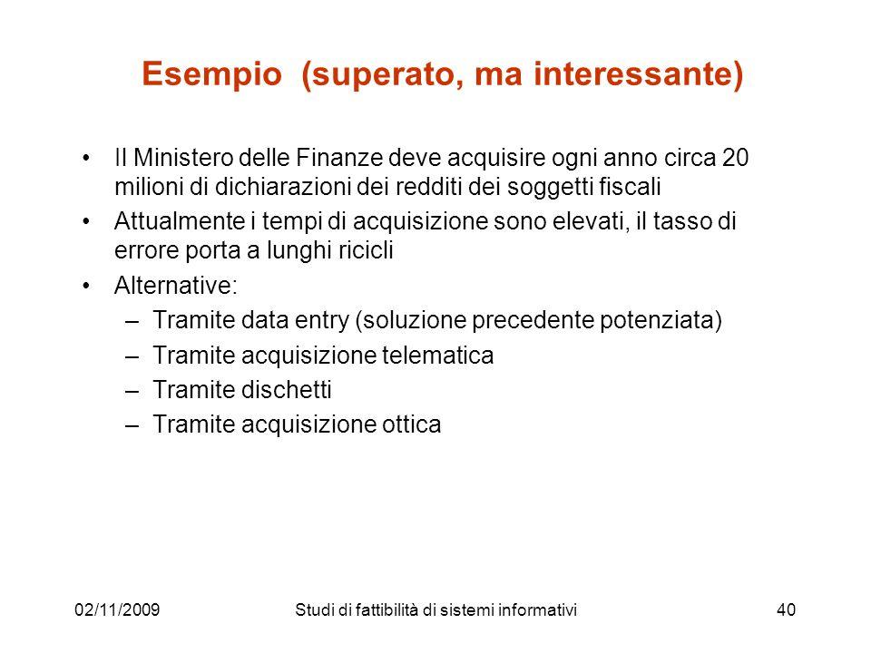 02/11/200940 Esempio (superato, ma interessante) Il Ministero delle Finanze deve acquisire ogni anno circa 20 milioni di dichiarazioni dei redditi dei