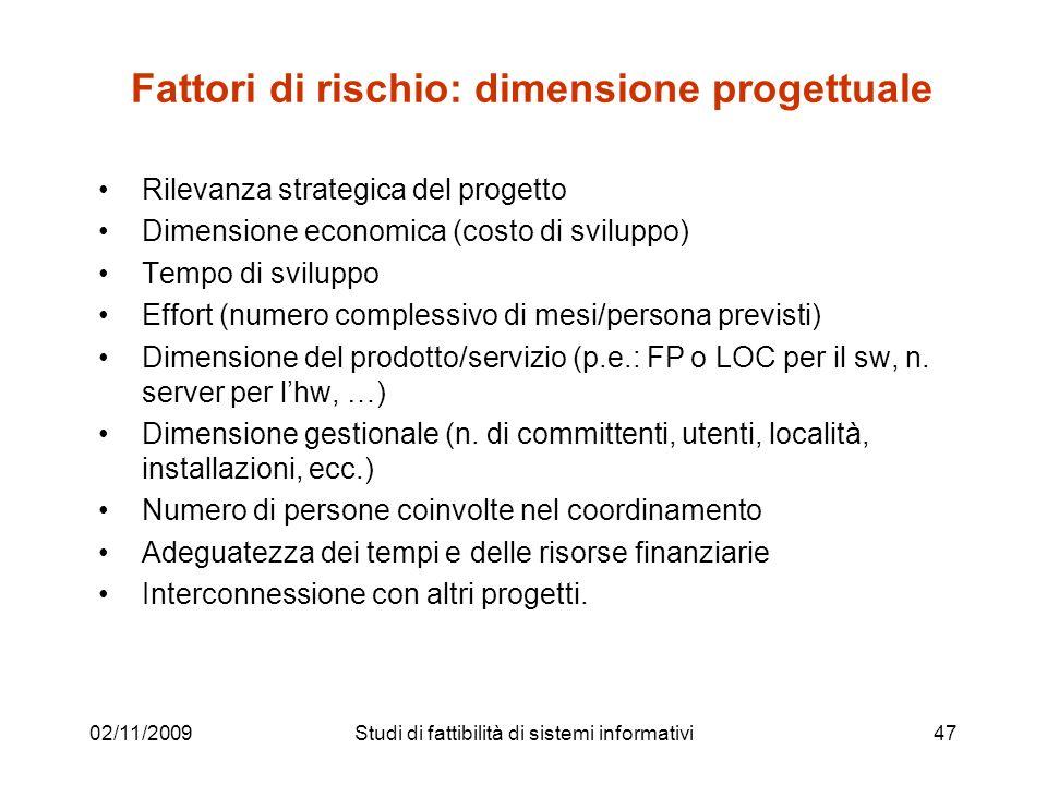 02/11/200947 Fattori di rischio: dimensione progettuale Rilevanza strategica del progetto Dimensione economica (costo di sviluppo) Tempo di sviluppo E