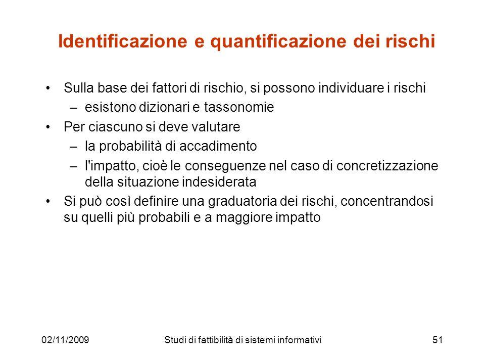 02/11/200951 Identificazione e quantificazione dei rischi Sulla base dei fattori di rischio, si possono individuare i rischi –esistono dizionari e tas