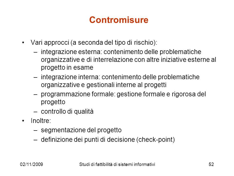 02/11/200952 Contromisure Vari approcci (a seconda del tipo di rischio): –integrazione esterna: contenimento delle problematiche organizzative e di in