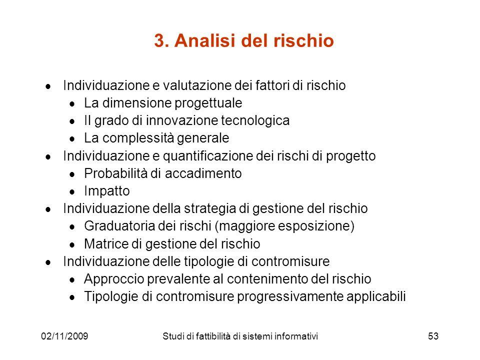 02/11/200953 3. Analisi del rischio Individuazione e valutazione dei fattori di rischio La dimensione progettuale Il grado di innovazione tecnologica