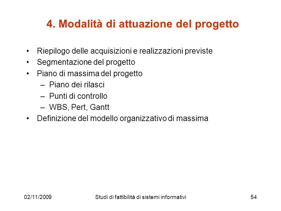 02/11/200954 4. Modalità di attuazione del progetto Riepilogo delle acquisizioni e realizzazioni previste Segmentazione del progetto Piano di massima