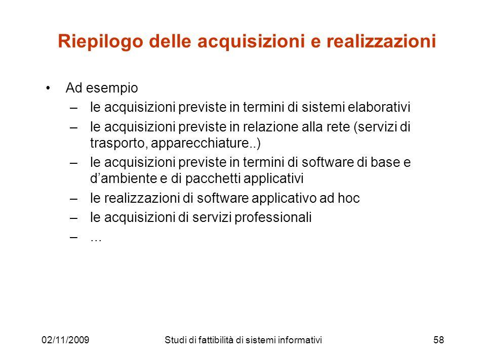 02/11/200958 Riepilogo delle acquisizioni e realizzazioni Ad esempio –le acquisizioni previste in termini di sistemi elaborativi –le acquisizioni prev