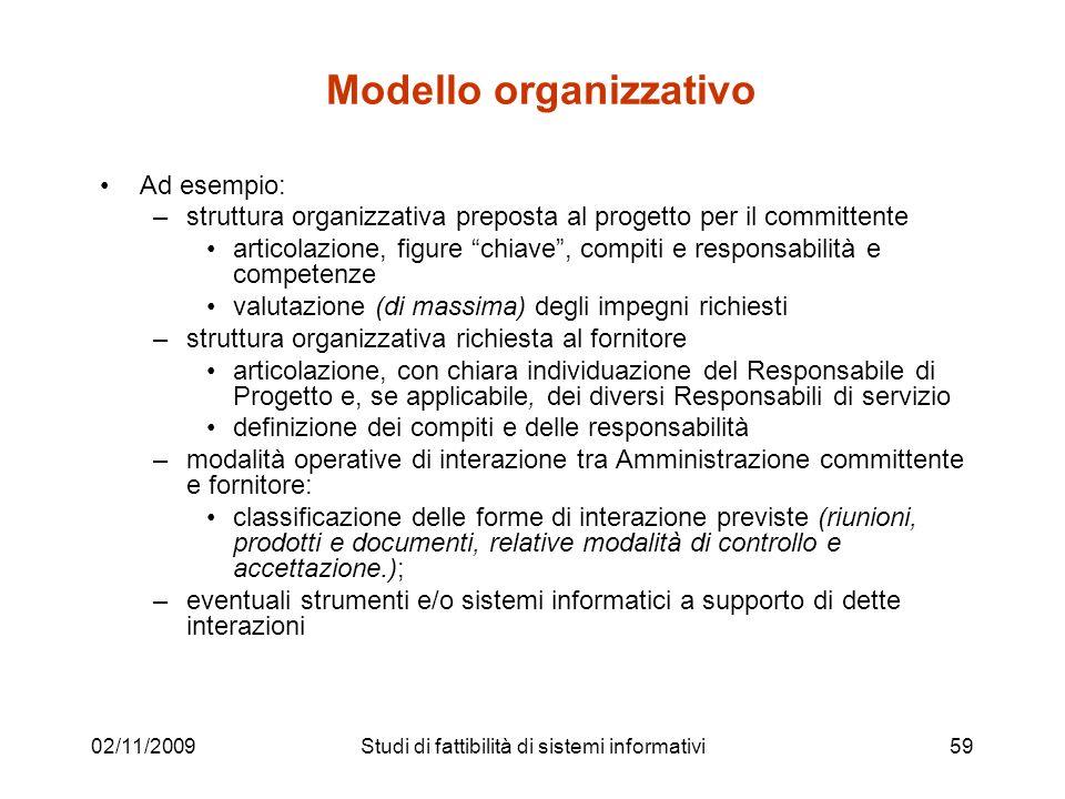 02/11/200959 Modello organizzativo Ad esempio: –struttura organizzativa preposta al progetto per il committente articolazione, figure chiave, compiti