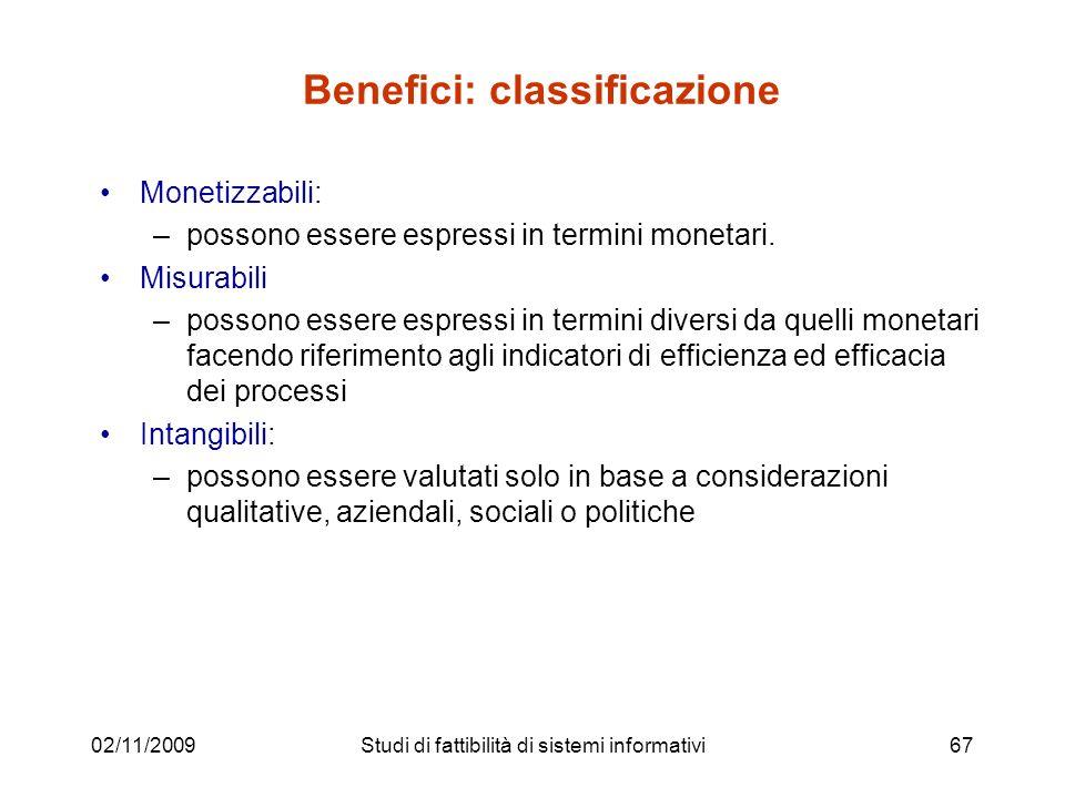 02/11/200967 Benefici: classificazione Monetizzabili: –possono essere espressi in termini monetari. Misurabili –possono essere espressi in termini div