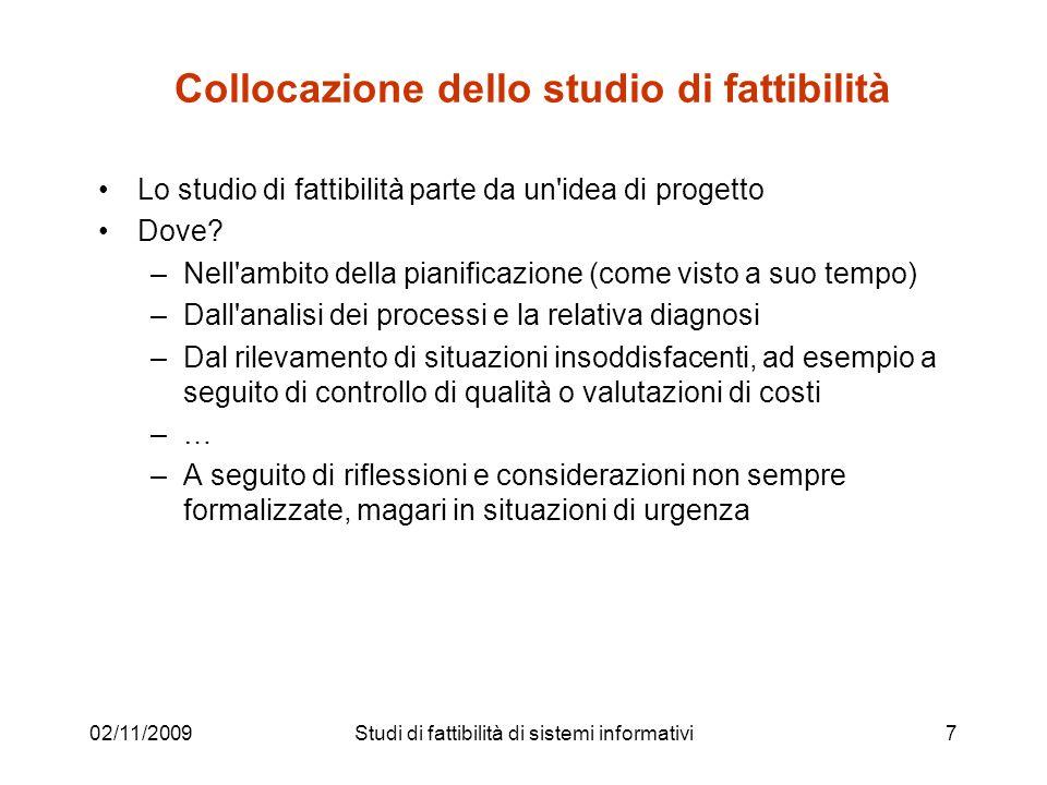 02/11/20097 Collocazione dello studio di fattibilità Lo studio di fattibilità parte da un'idea di progetto Dove? –Nell'ambito della pianificazione (co
