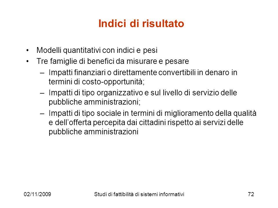 02/11/200972 Indici di risultato Modelli quantitativi con indici e pesi Tre famiglie di benefici da misurare e pesare –Impatti finanziari o direttamen