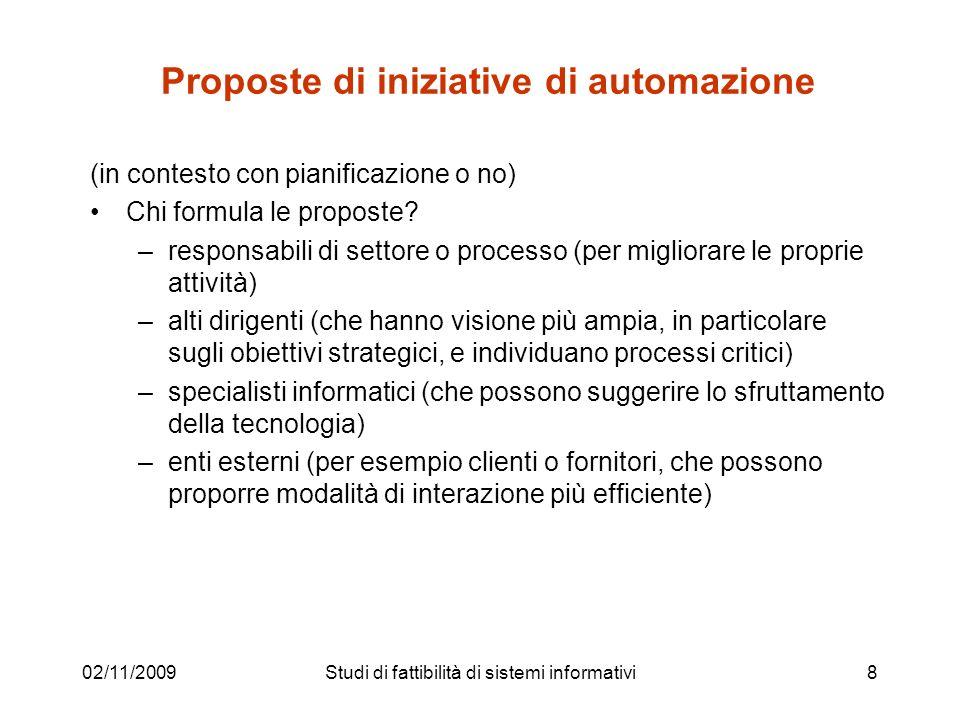 02/11/2009Studi di fattibilità di sistemi informativi8 Proposte di iniziative di automazione (in contesto con pianificazione o no) Chi formula le prop