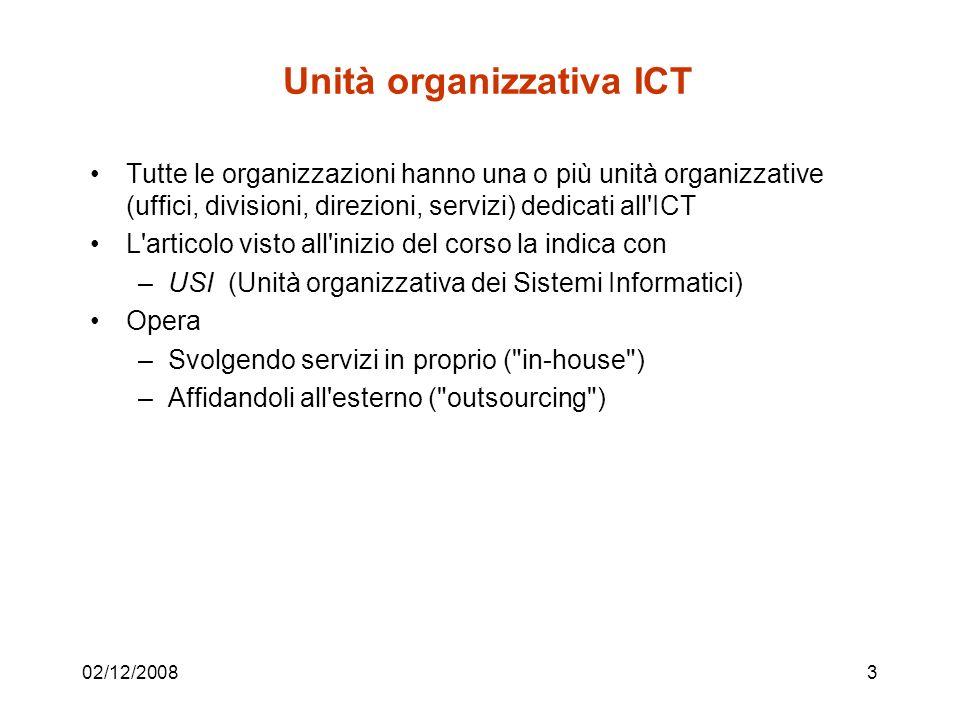 Sistemi e servizi ICT in proprio 02/12/20084 Attività interna 1 Attività interna 2 Attività interna m Interlocutore 1 Interlocutore 2 Interlocutore n SERVIZI ICT SISTEMI ICT Unità ICT (USI)