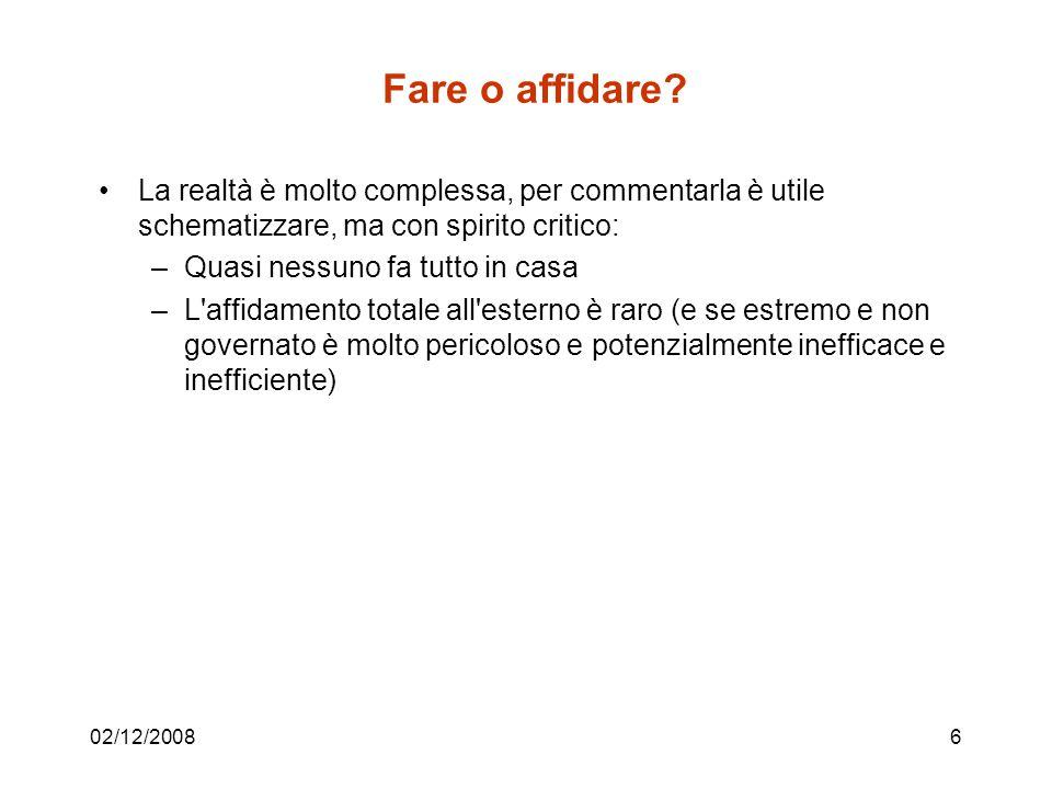 02/12/200837 La funzione IT nei casi estremi, make e outsourcing