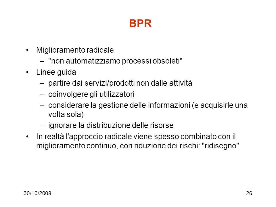 30/10/200825 BPR vs gestione per processi.