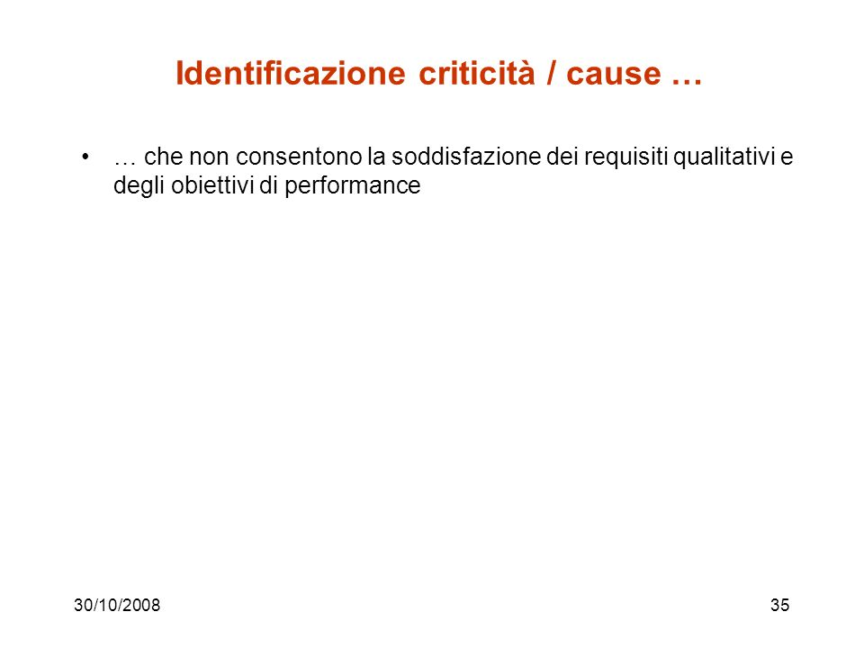 30/10/200834 Diagrammi di flusso funzionali INIZIO INTERVENTO PRESSO IL CLIENTE CLIENTE IN GARANZIA .