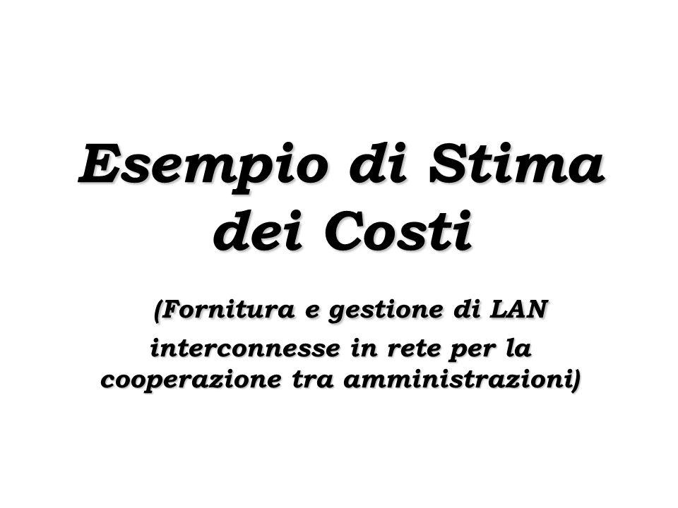 Esempio di Stima dei Costi (Fornitura e gestione di LAN interconnesse in rete per la cooperazione tra amministrazioni)