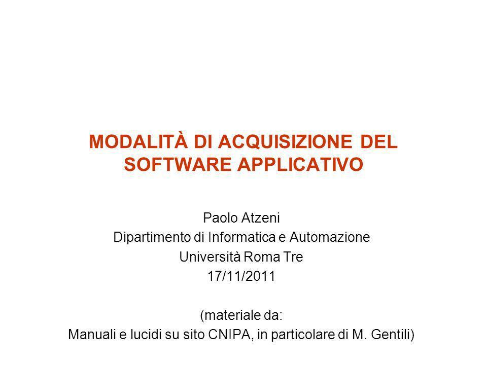 17/11/20112 Acquisizione di sw applicativo Forme principali –Proprietà (del codice sorgente) –Licenza d uso –Software libero/gratuito –ASP: Application Service Provider