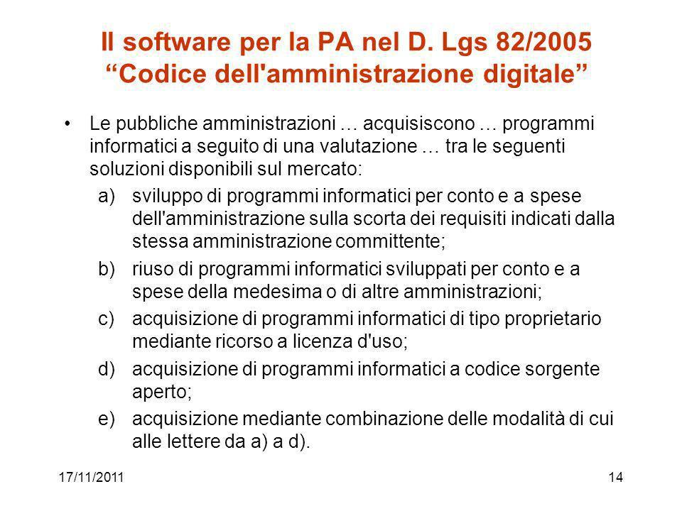 Il software per la PA nel D.