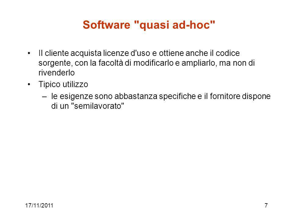 17/11/201118 Strategie inerenti il sw applicativo progetto vs.
