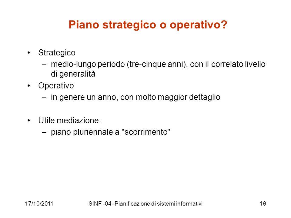 17/10/2011SINF -04- Pianificazione di sistemi informativi19 Piano strategico o operativo.