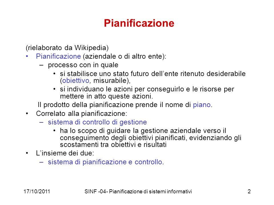 17/10/2011SINF -04- Pianificazione di sistemi informativi53