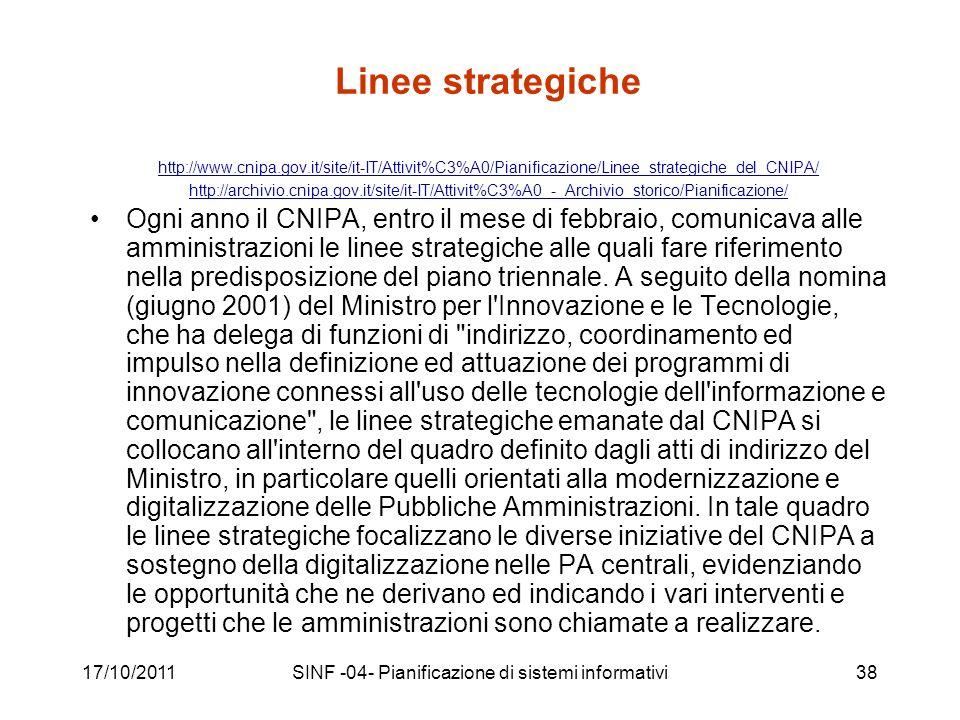 17/10/2011SINF -04- Pianificazione di sistemi informativi38 Linee strategiche http://www.cnipa.gov.it/site/it-IT/Attivit%C3%A0/Pianificazione/Linee_strategiche_del_CNIPA/ http://archivio.cnipa.gov.it/site/it-IT/Attivit%C3%A0_-_Archivio_storico/Pianificazione/ Ogni anno il CNIPA, entro il mese di febbraio, comunicava alle amministrazioni le linee strategiche alle quali fare riferimento nella predisposizione del piano triennale.