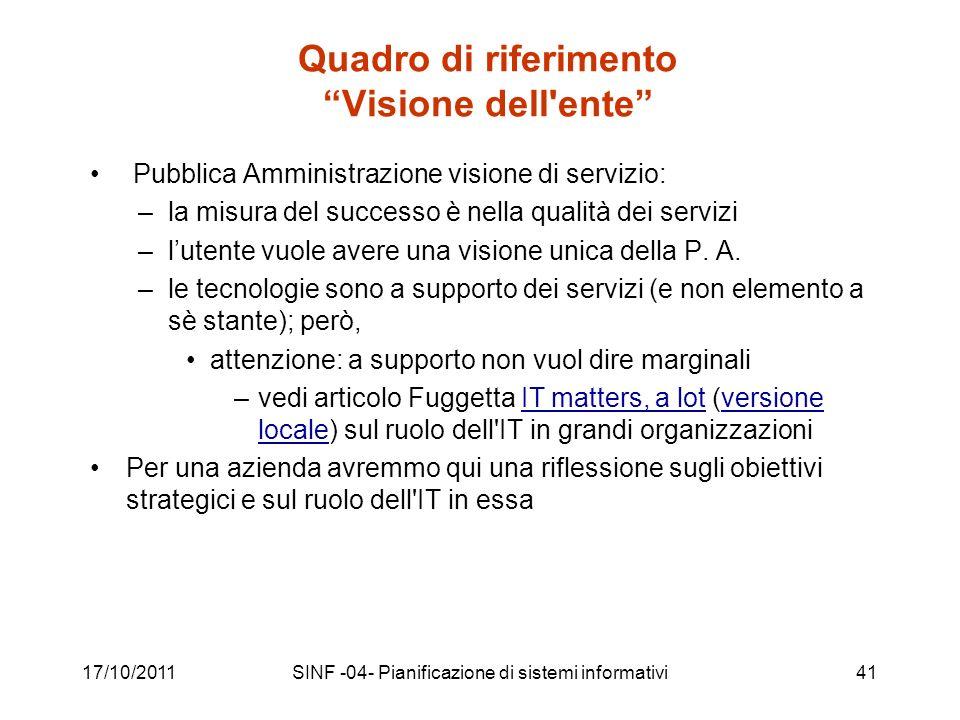 17/10/2011SINF -04- Pianificazione di sistemi informativi41 Quadro di riferimento Visione dell ente Pubblica Amministrazione visione di servizio: –la misura del successo è nella qualità dei servizi –lutente vuole avere una visione unica della P.