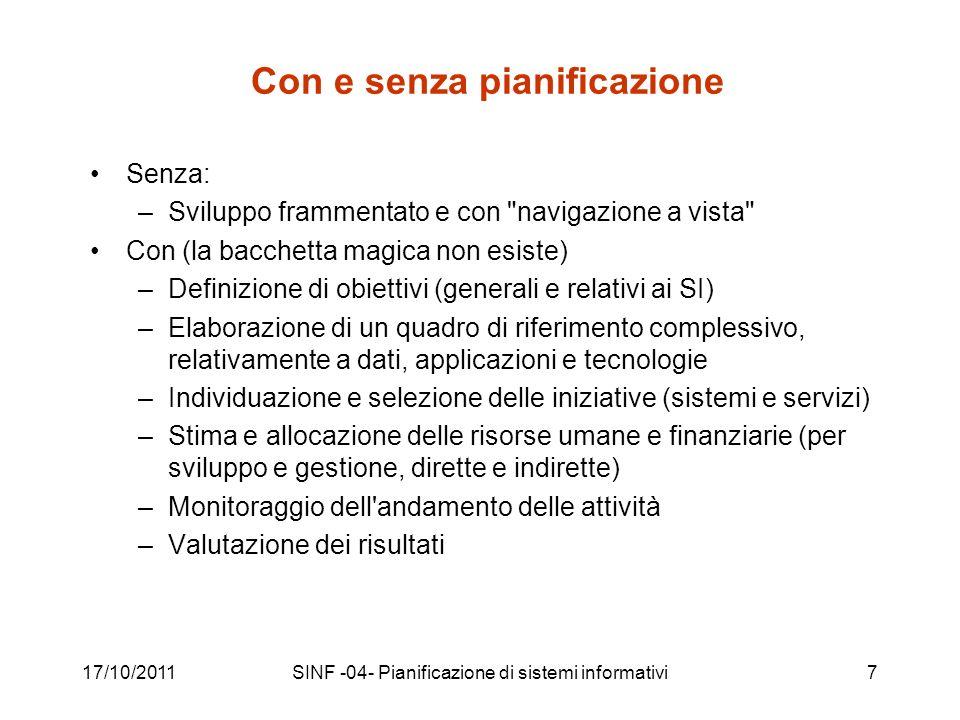 17/10/2011SINF -04- Pianificazione di sistemi informativi58