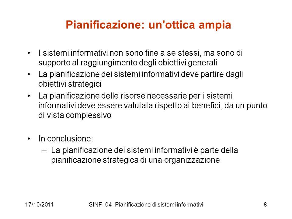 17/10/2011SINF -04- Pianificazione di sistemi informativi39 Linee strategiche recenti http://www.cnipa.gov.it/site/it-IT/Attivit%C3%A0/Pianificazione/Linee_strategiche_del_CNIPA/ 2010-2012 2009-2011 2008-2010