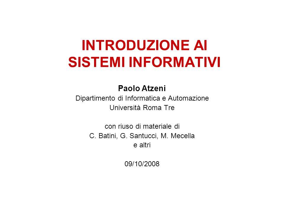 INTRODUZIONE AI SISTEMI INFORMATIVI Paolo Atzeni Dipartimento di Informatica e Automazione Università Roma Tre con riuso di materiale di C. Batini, G.