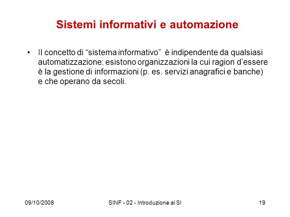 09/10/2008SINF - 02 - Introduzione ai SI19 Sistemi informativi e automazione Il concetto di sistema informativo è indipendente da qualsiasi automatizz