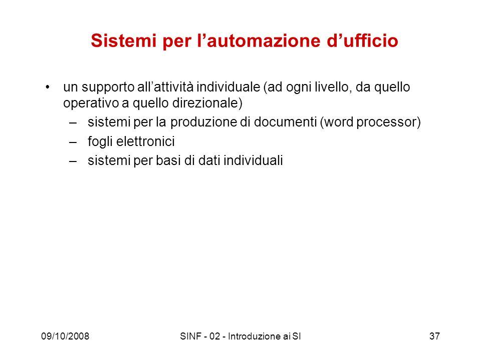 09/10/2008SINF - 02 - Introduzione ai SI37 Sistemi per lautomazione dufficio un supporto allattività individuale (ad ogni livello, da quello operativo