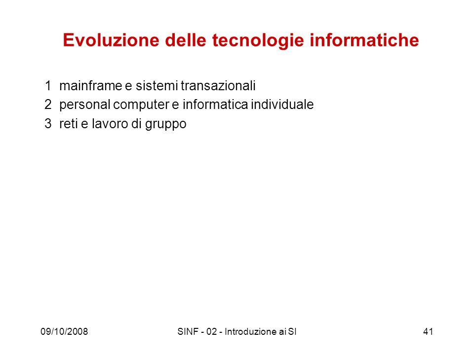 09/10/2008SINF - 02 - Introduzione ai SI41 Evoluzione delle tecnologie informatiche 1 mainframe e sistemi transazionali 2 personal computer e informat