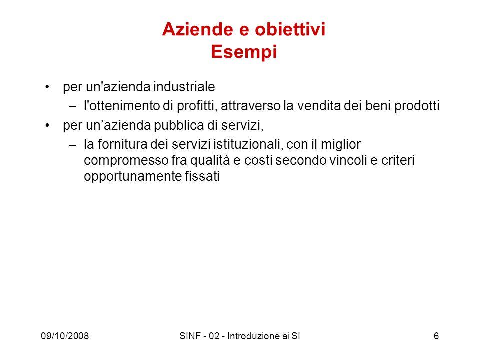 09/10/2008SINF - 02 - Introduzione ai SI17 Sistema informativo Componente (sottosistema) di una organizzazione che gestisce (acquisisce, elabora, conserva, produce) le informazioni di interesse (cioè utilizzate per il perseguimento degli scopi dellorganizzazione stessa).