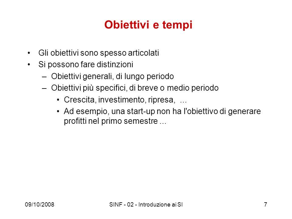 09/10/2008SINF - 02 - Introduzione ai SI7 Obiettivi e tempi Gli obiettivi sono spesso articolati Si possono fare distinzioni –Obiettivi generali, di l