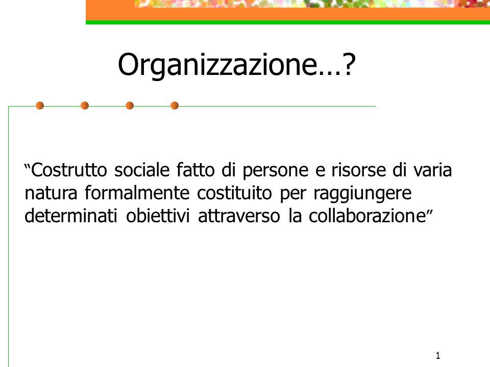 1 Organizzazione…? Costrutto sociale fatto di persone e risorse di varia natura formalmente costituito per raggiungere determinati obiettivi attravers