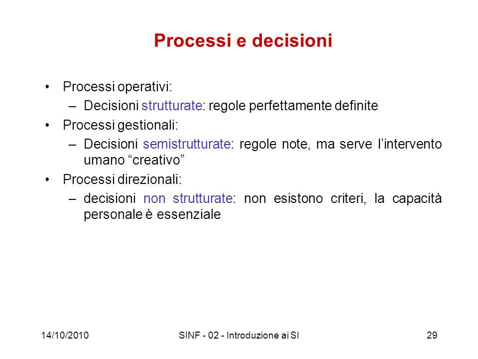 14/10/2010SINF - 02 - Introduzione ai SI29 Processi e decisioni Processi operativi: –Decisioni strutturate: regole perfettamente definite Processi ges