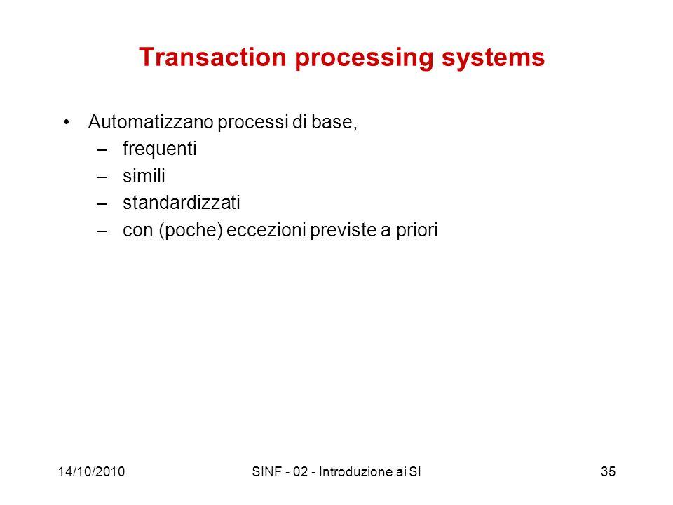 14/10/2010SINF - 02 - Introduzione ai SI35 Transaction processing systems Automatizzano processi di base, – frequenti – simili – standardizzati – con