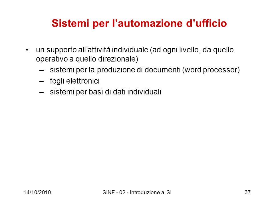14/10/2010SINF - 02 - Introduzione ai SI37 Sistemi per lautomazione dufficio un supporto allattività individuale (ad ogni livello, da quello operativo