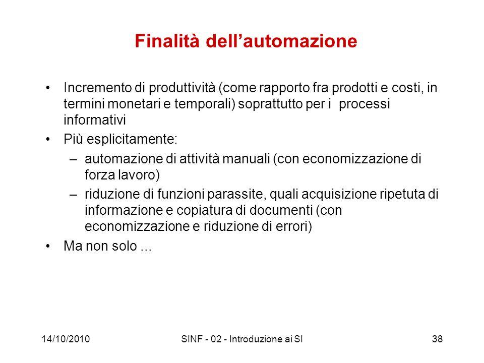 14/10/2010SINF - 02 - Introduzione ai SI38 Finalità dellautomazione Incremento di produttività (come rapporto fra prodotti e costi, in termini monetar