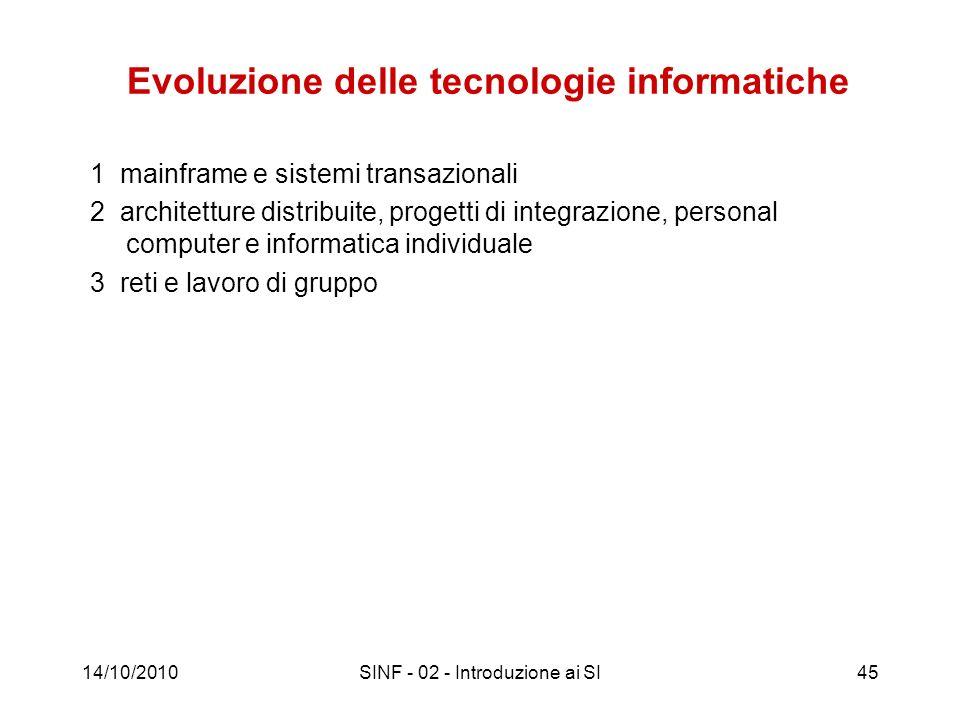 14/10/2010SINF - 02 - Introduzione ai SI45 Evoluzione delle tecnologie informatiche 1 mainframe e sistemi transazionali 2 architetture distribuite, pr