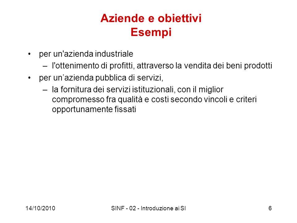 14/10/2010SINF - 02 - Introduzione ai SI6 Aziende e obiettivi Esempi per un'azienda industriale –l'ottenimento di profitti, attraverso la vendita dei